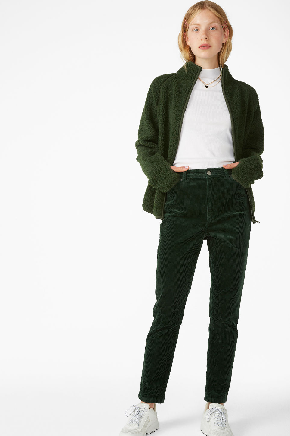 Model front image of Monki slim fit corduroy trousers in green