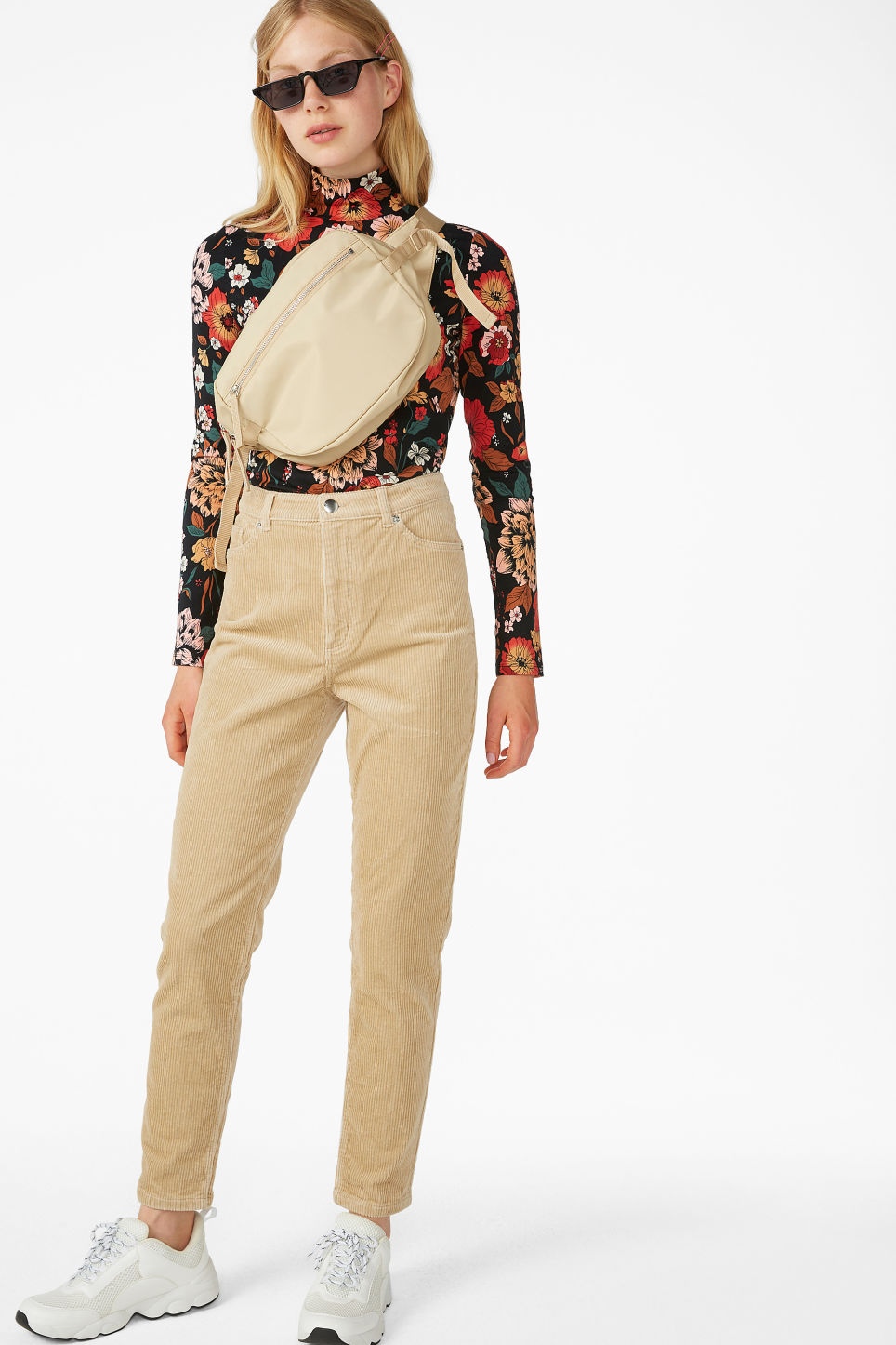 Model front image of Monki slim fit corduroy trousers in beige