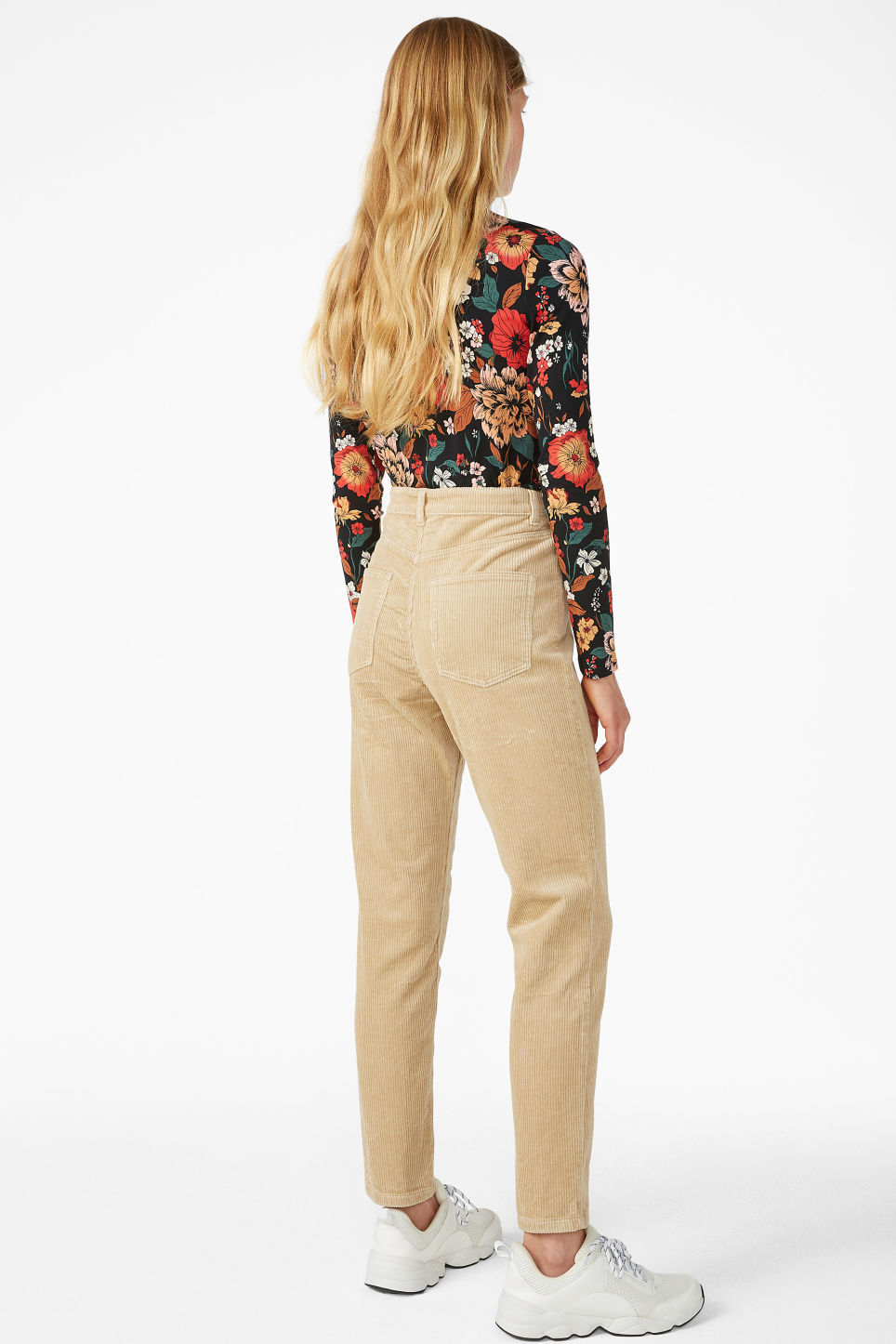 Model back image of Monki slim fit corduroy trousers in beige