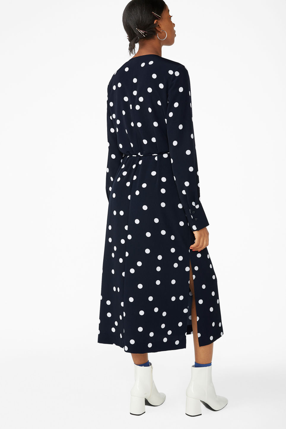 Model back image of Monki long wrap dress in blue