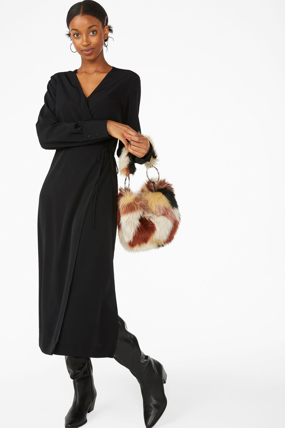 Model front image of Monki long wrap dress in black