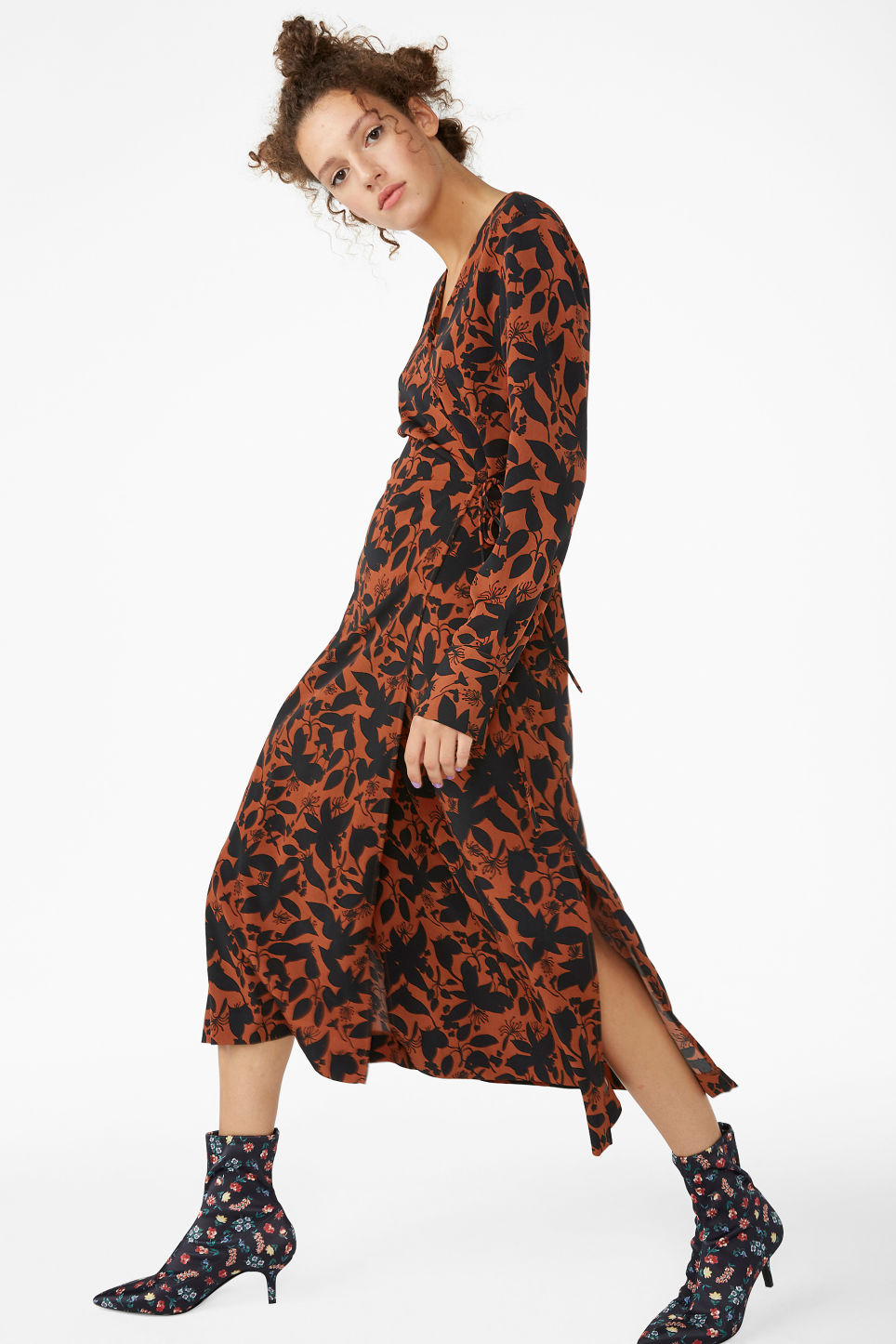 Model front image of Monki long wrap dress in orange