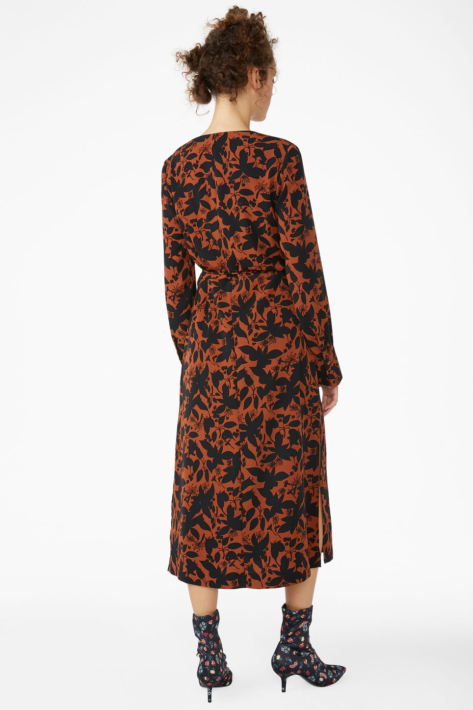 Model back image of Monki long wrap dress in orange