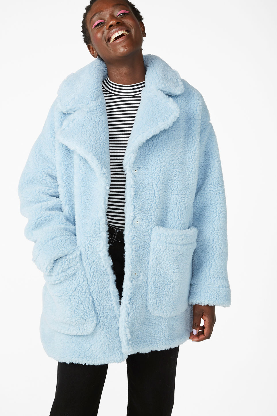 Model front image of Monki fluffy coat in blue