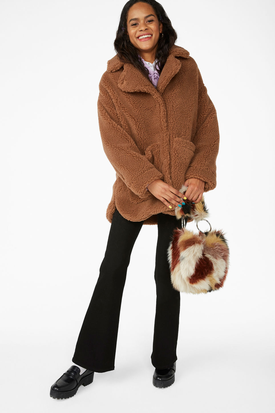 Model front image of Monki oversized faux shearling coat in beige