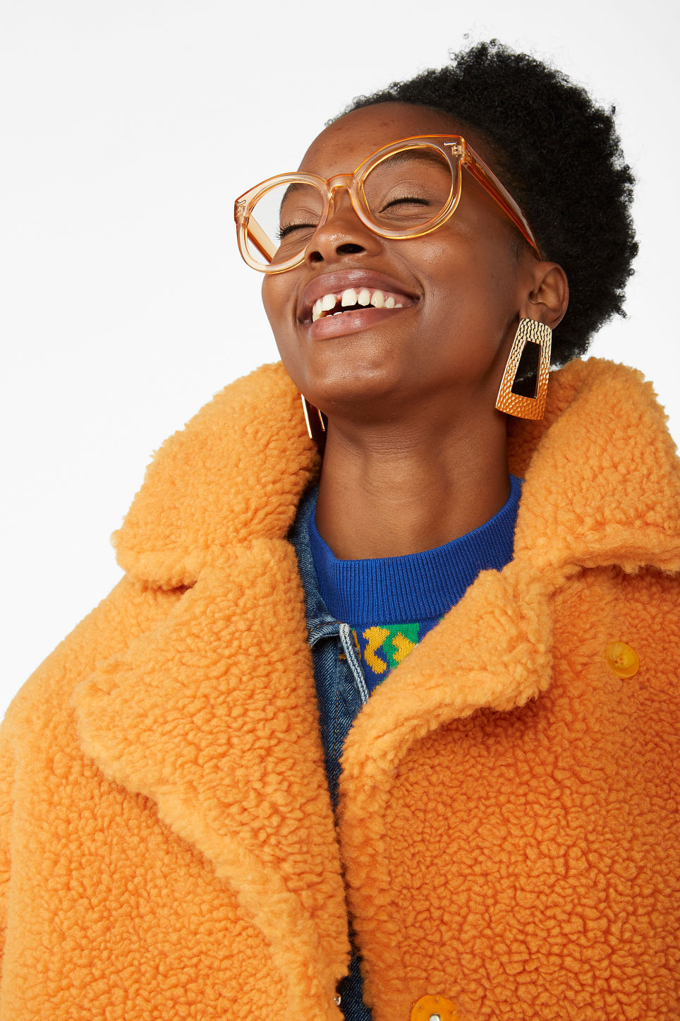 Model front image of Monki oversized faux shearling coat in orange