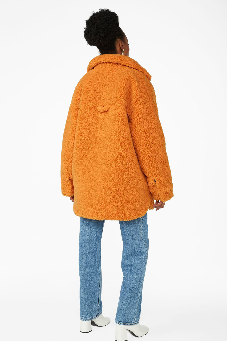 Model back image of Monki oversized faux shearling coat in orange