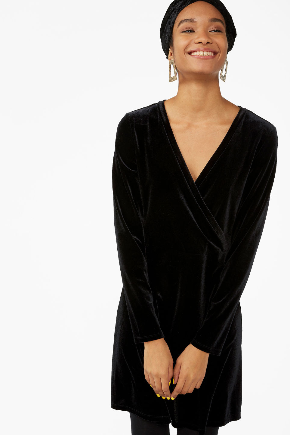 Model front image of Monki wrap dress in black