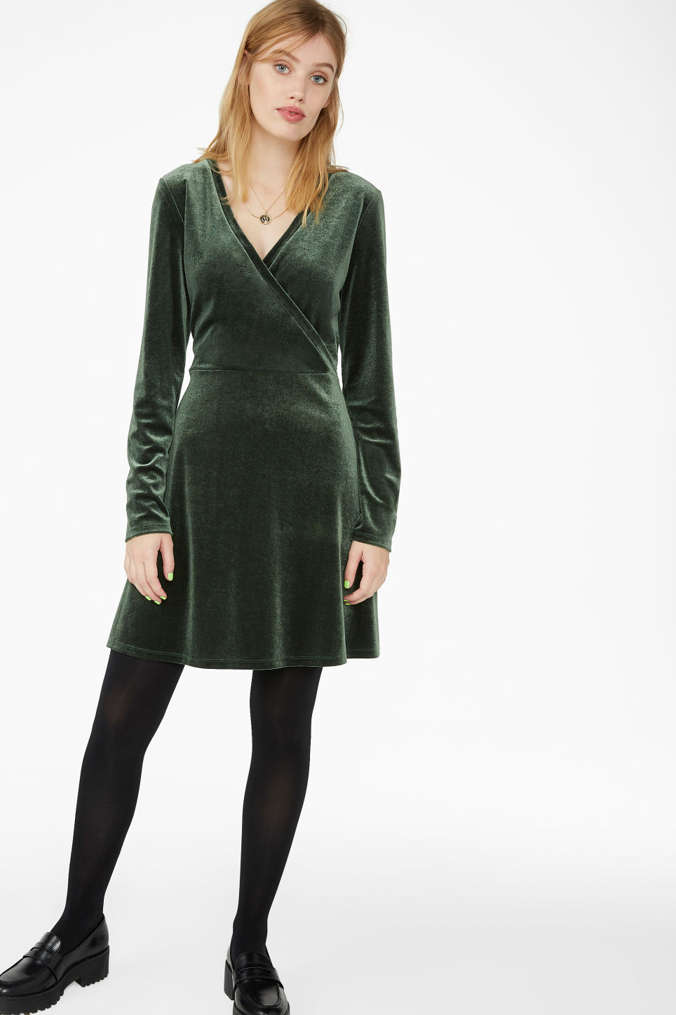 Model front image of Monki wrap dress in green