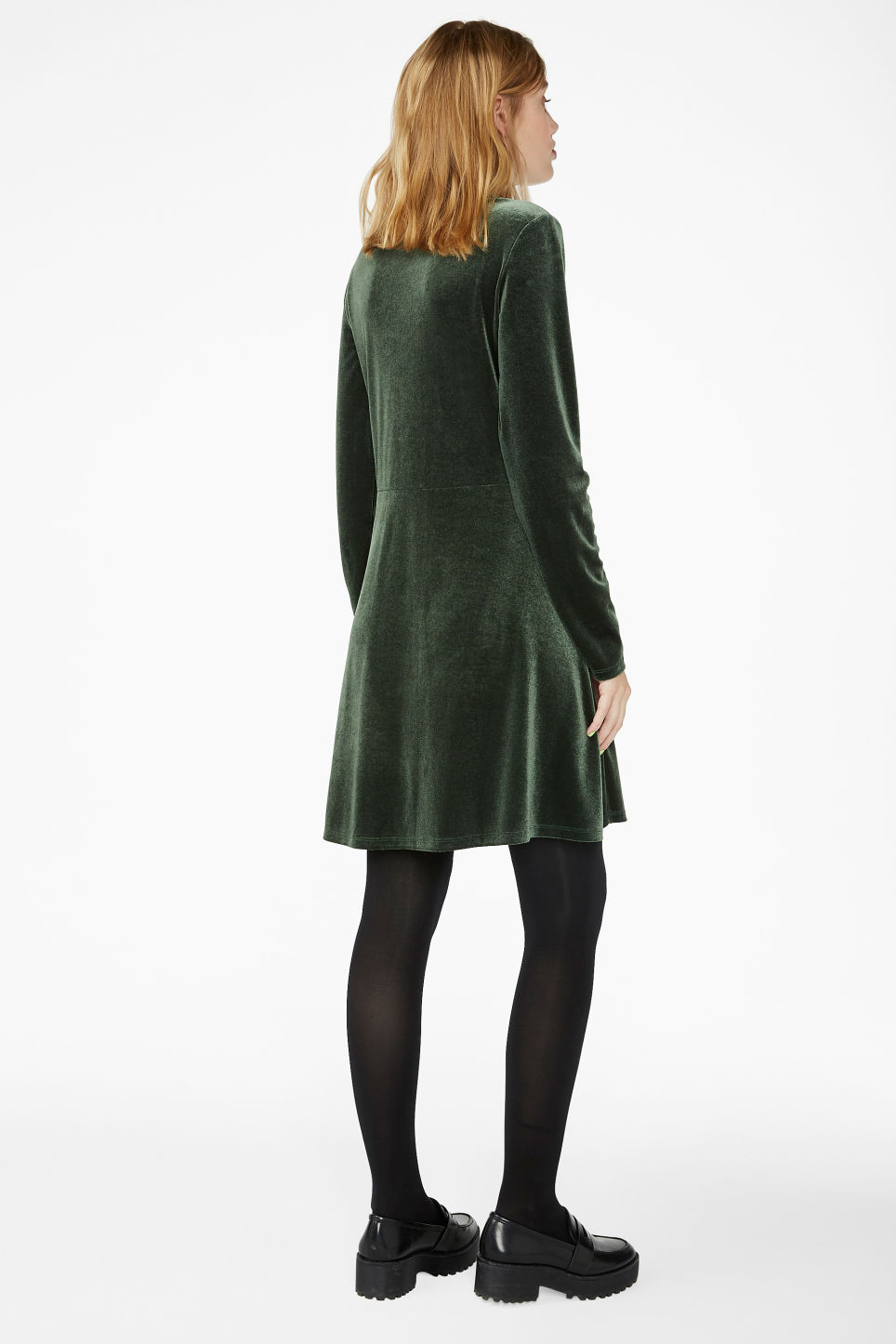 Model back image of Monki wrap dress in green