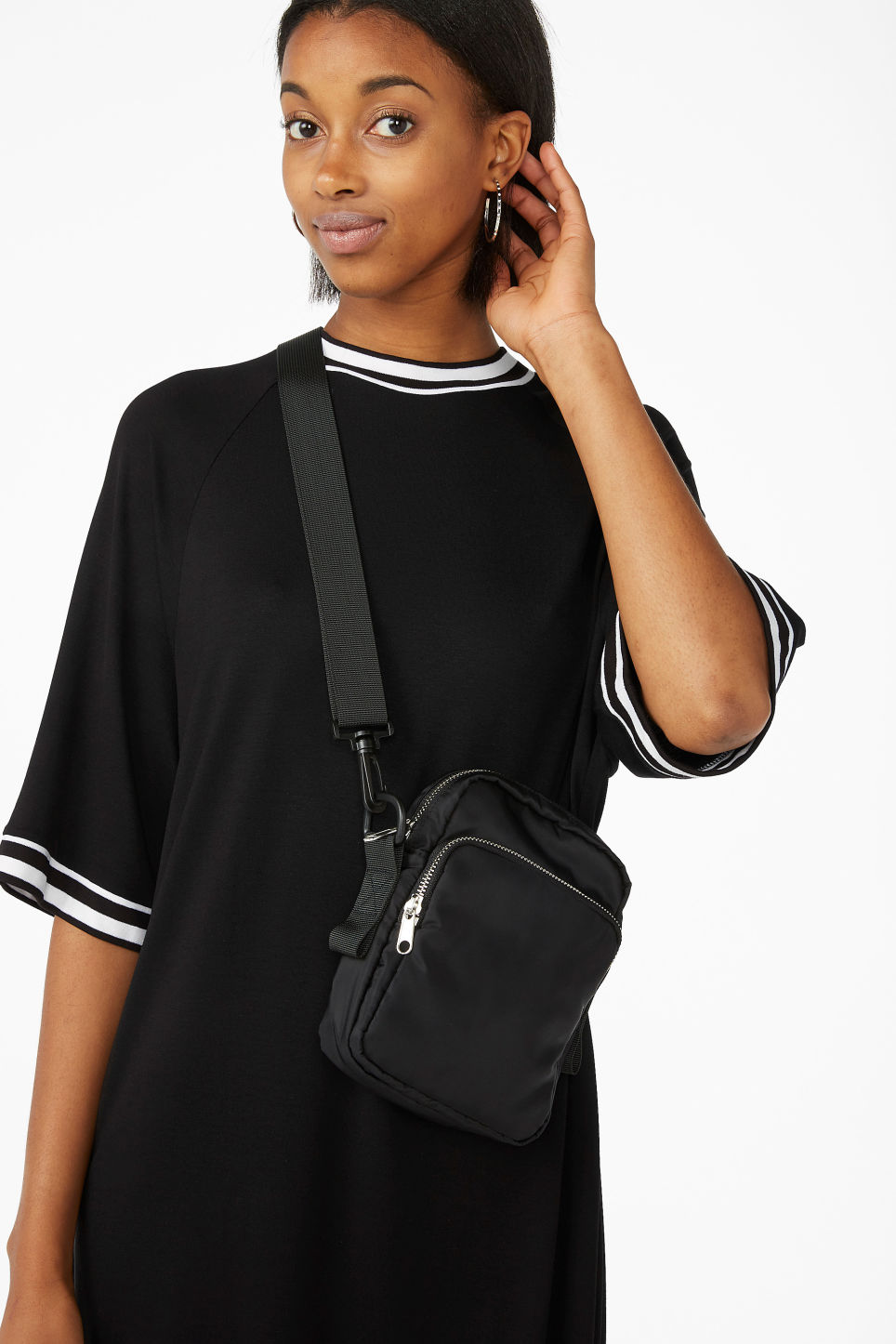 Model front image of Monki sporty t-shirt dress in black