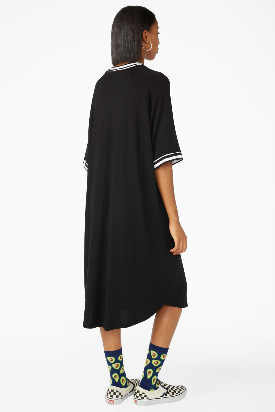 Model back image of Monki sporty t-shirt dress in black