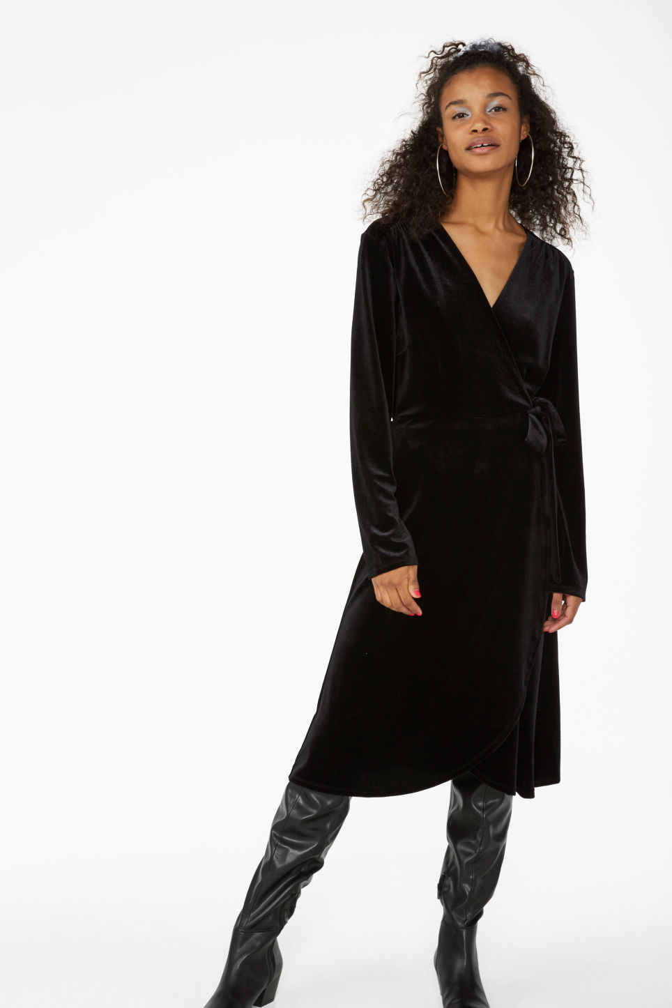 Model front image of Monki velvet wrap dress in black