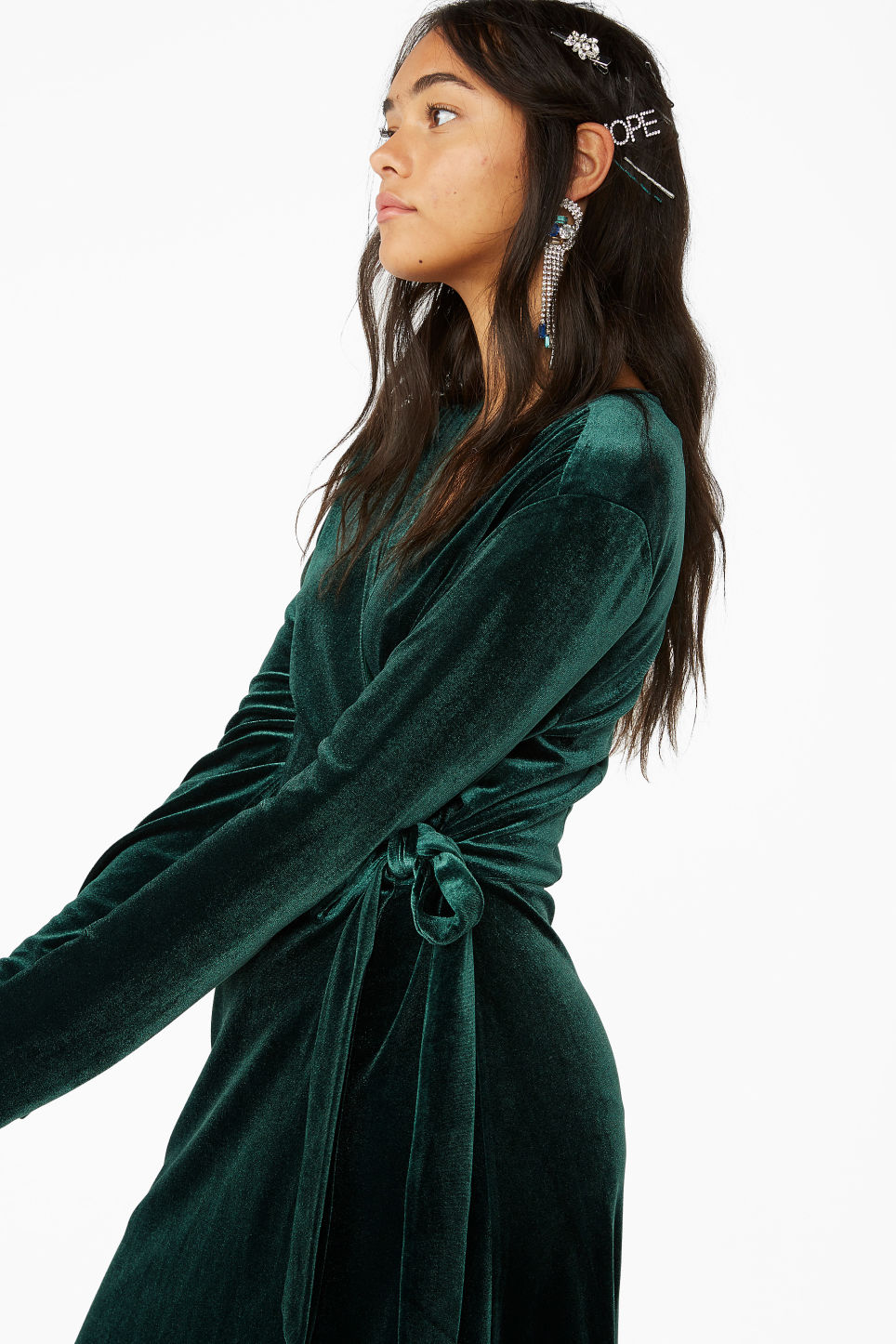 Model front image of Monki velvet wrap dress in green