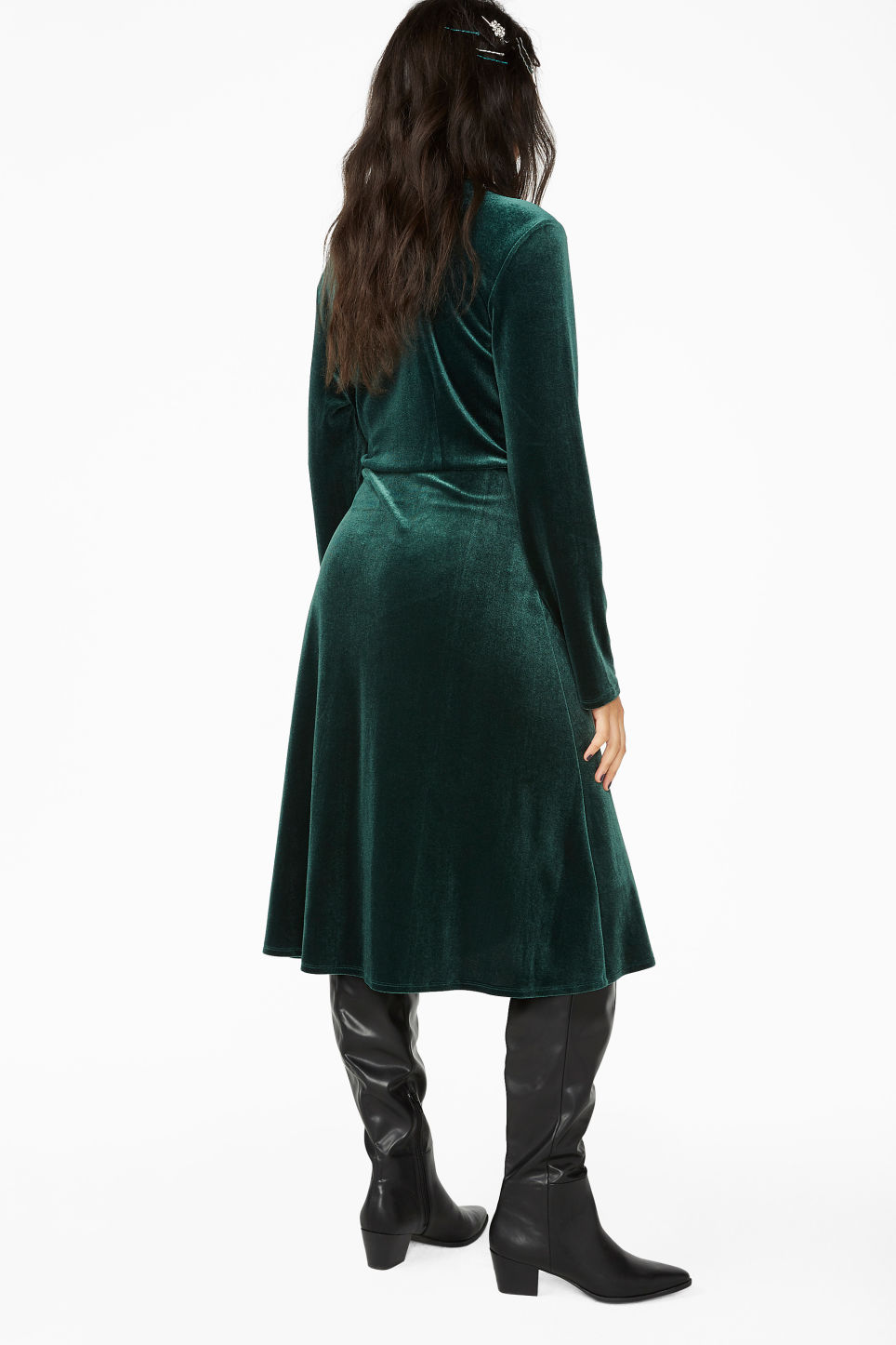 Model back image of Monki velvet wrap dress in green