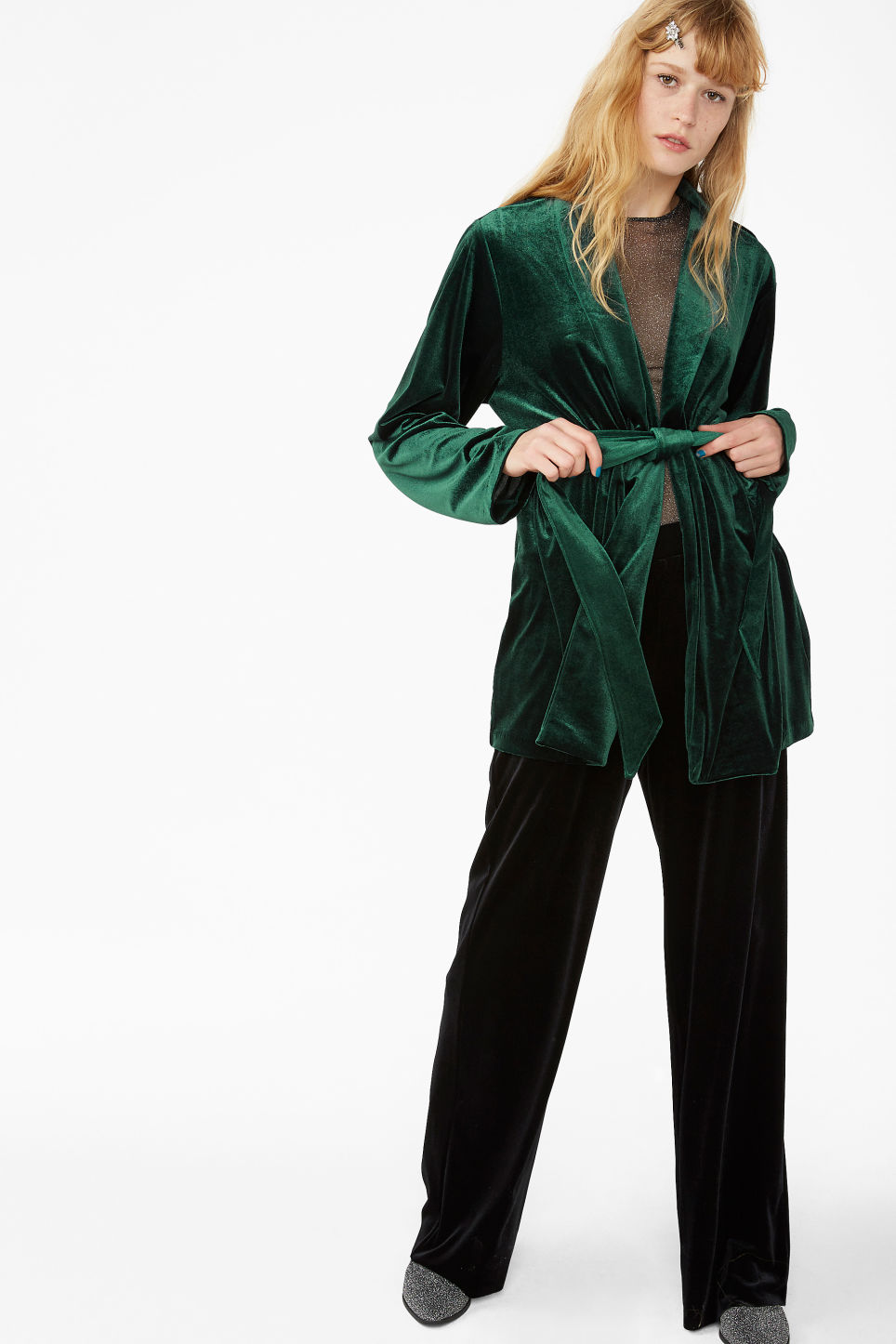 Model front image of Monki velvet wrap blazer in green