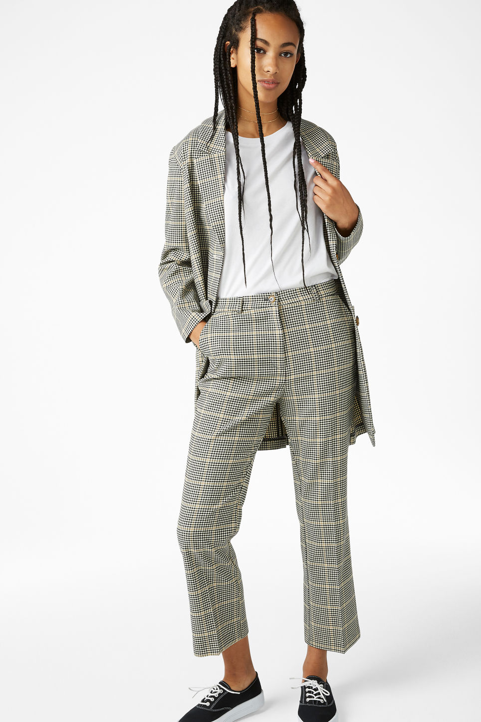 Model front image of Monki soft dressy trousers in beige