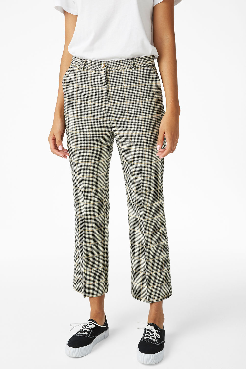Model side image of Monki soft dressy trousers in beige