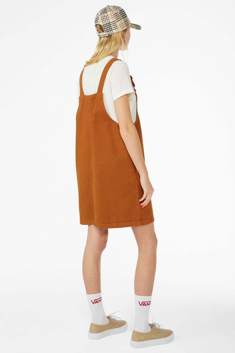 Model back image of Monki denim dungaree dress in orange