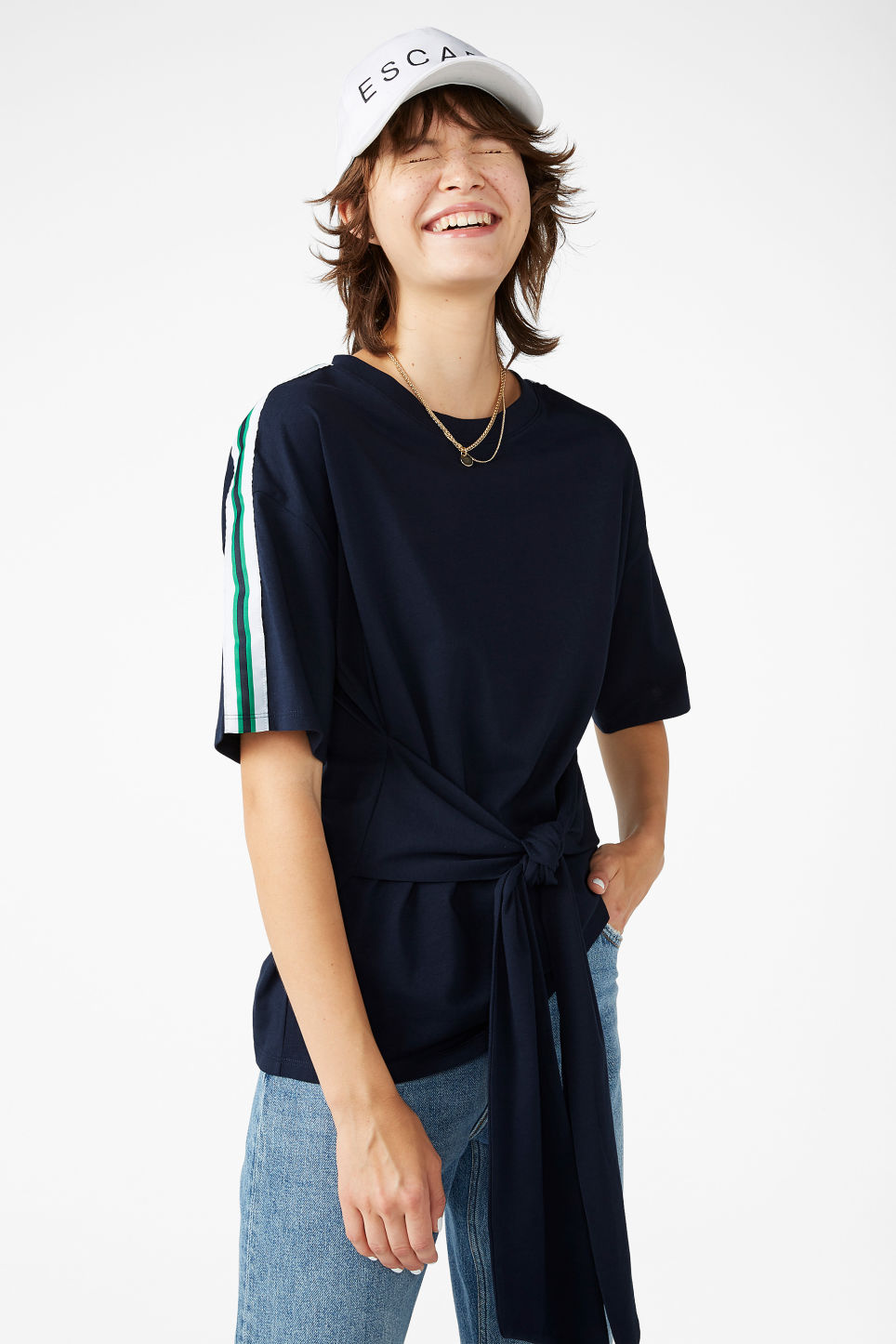 Model front image of Monki oversized front tie tee in blue