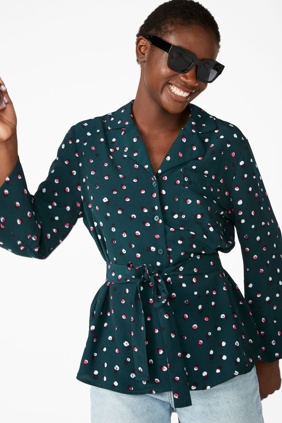 Model front image of Monki luxe kimono shirt in green