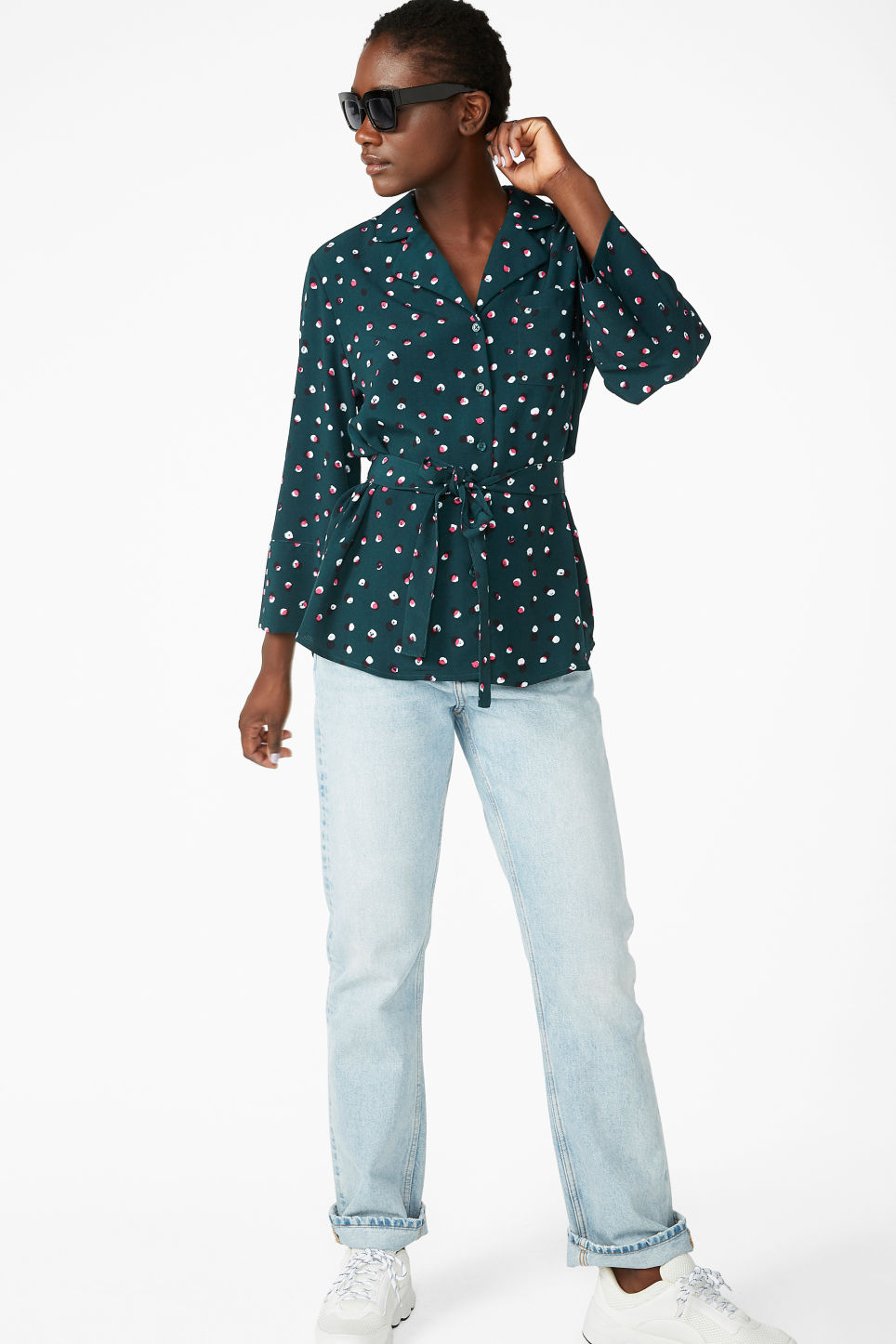 Model side image of Monki luxe kimono shirt in green