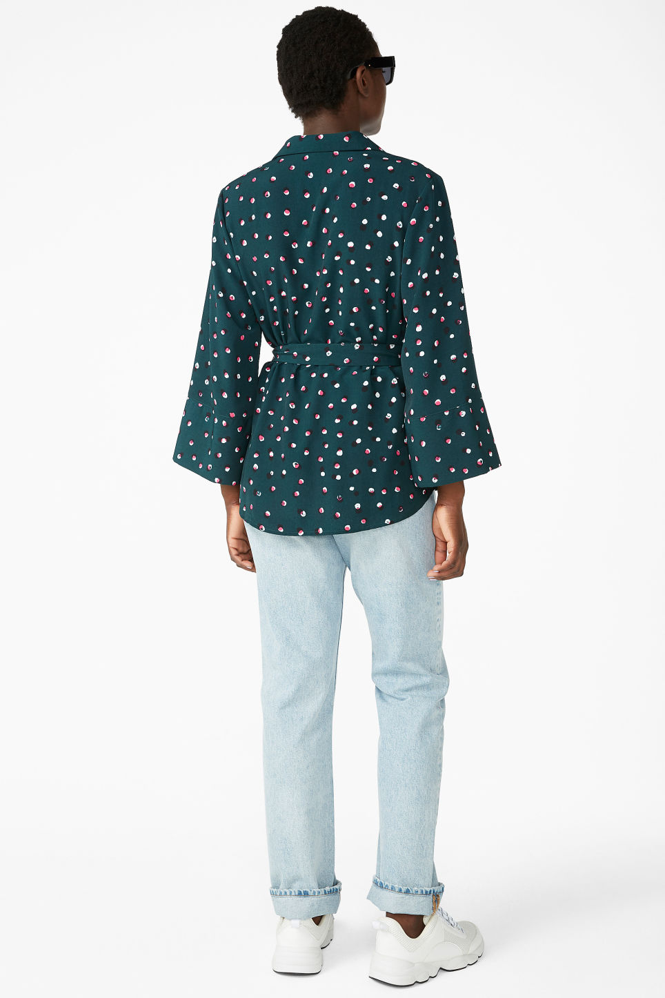 Model back image of Monki luxe kimono shirt in green