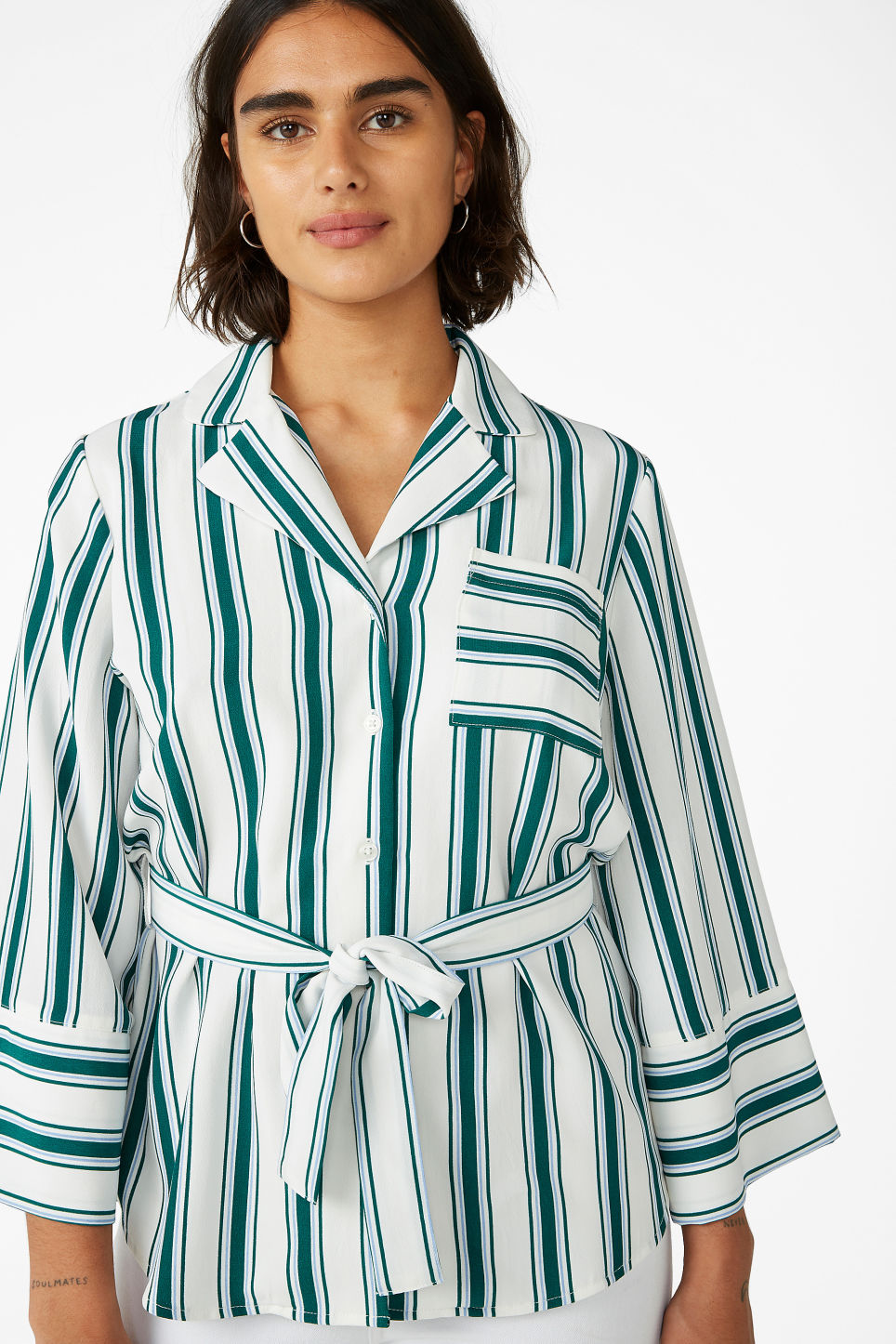 Model front image of Monki luxe kimono shirt in white