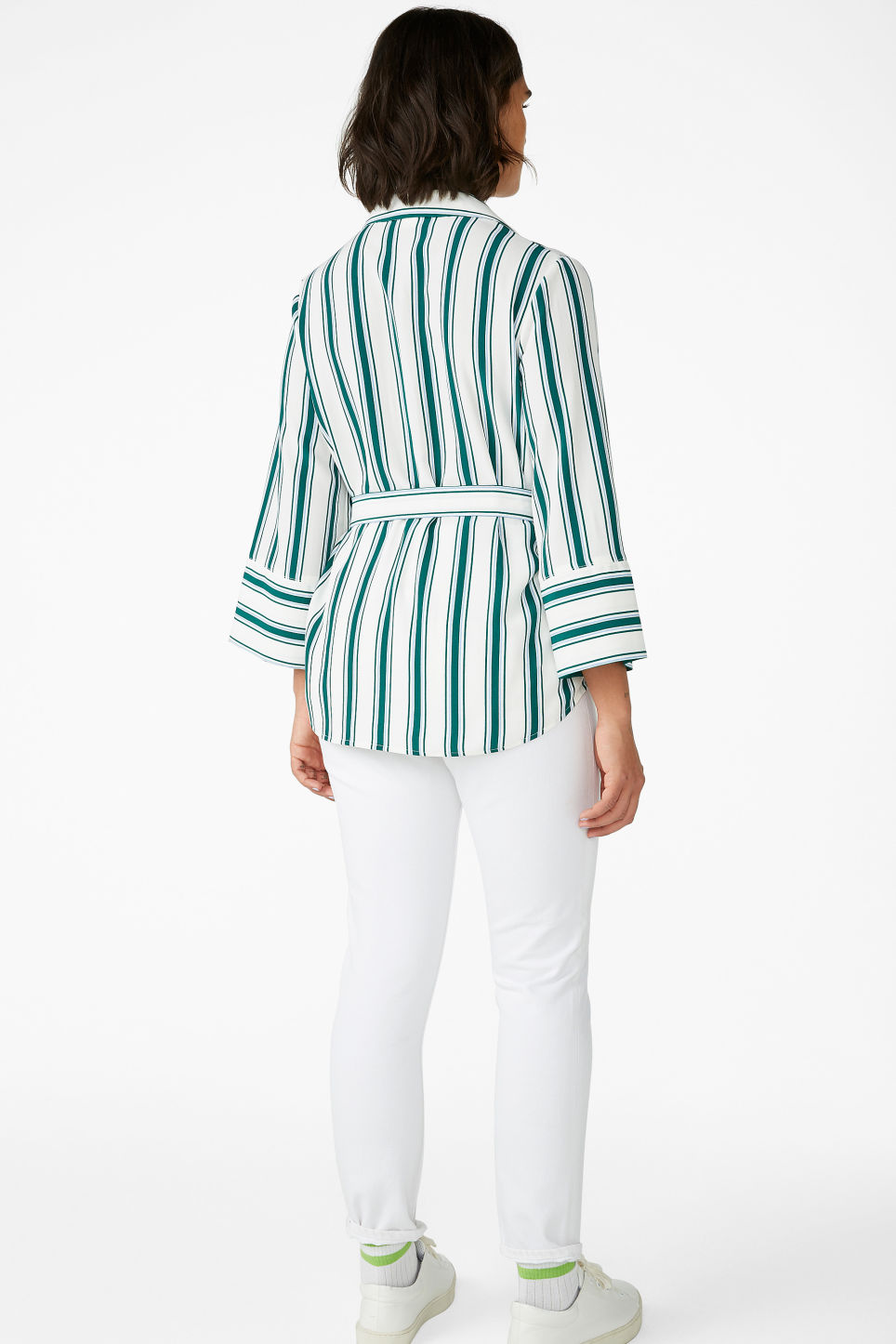 Model back image of Monki luxe kimono shirt in white