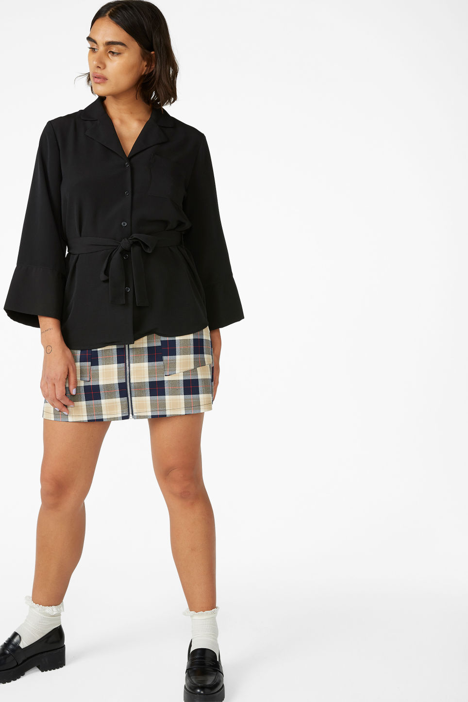 Model side image of Monki luxe kimono shirt in black