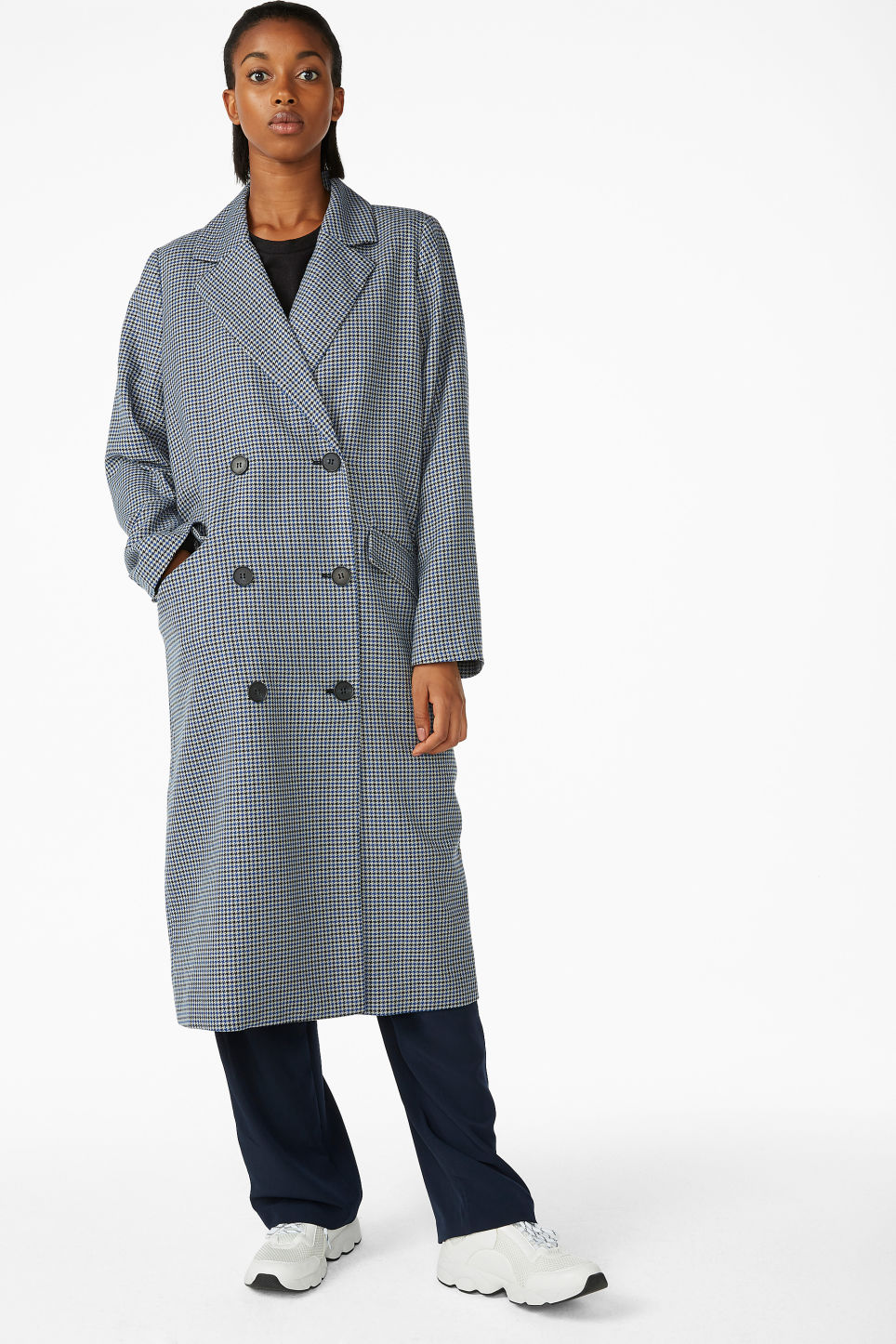 Model front image of Monki longline coat  in blue