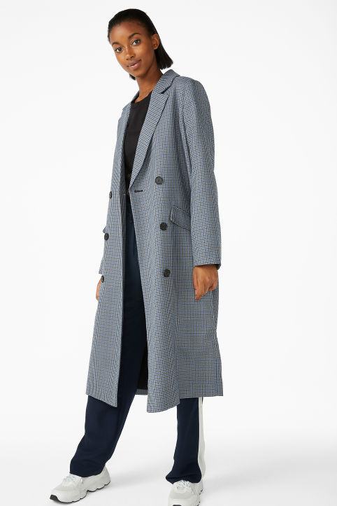 Double-breasted longline coat