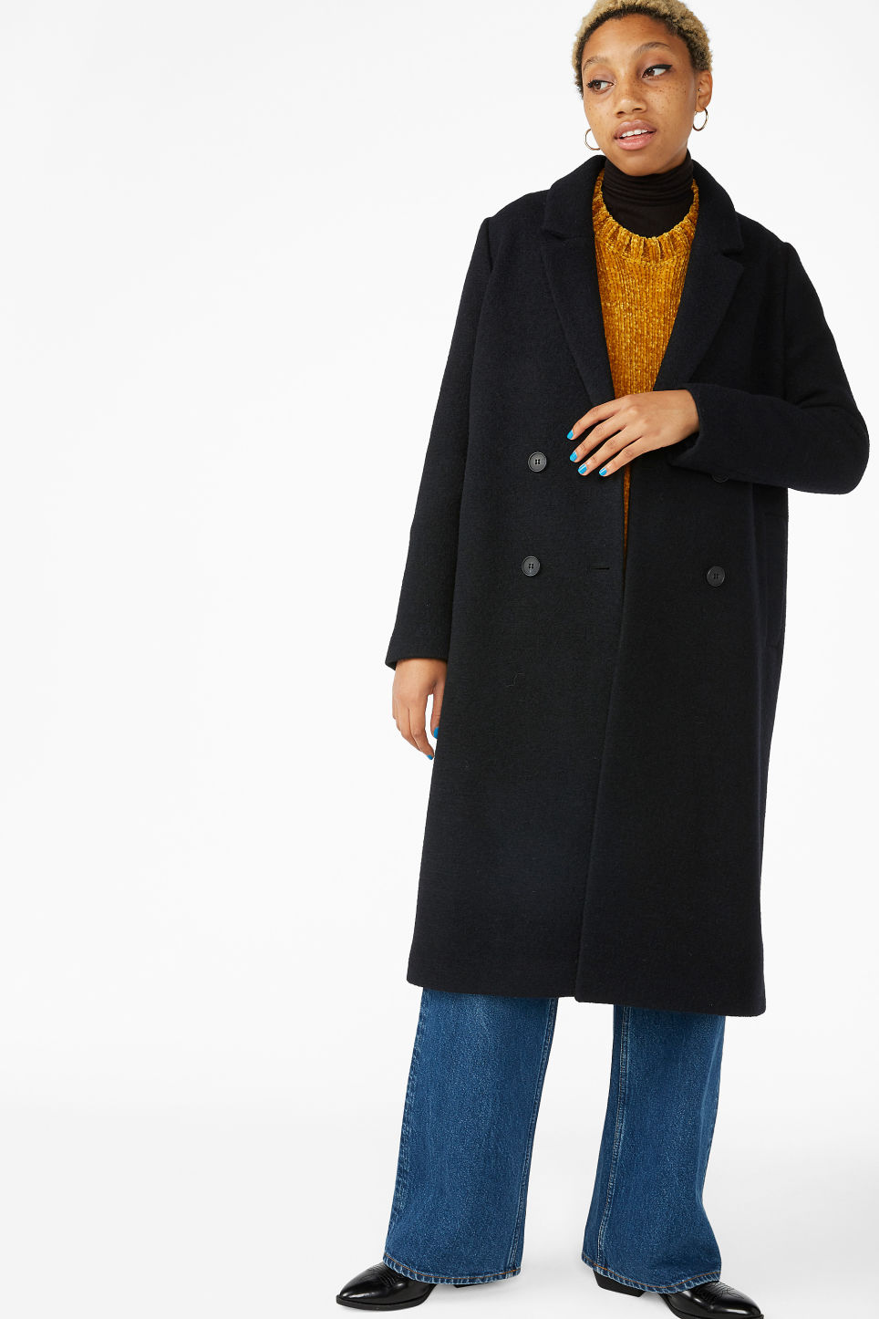 Model front image of Monki classic coat in black