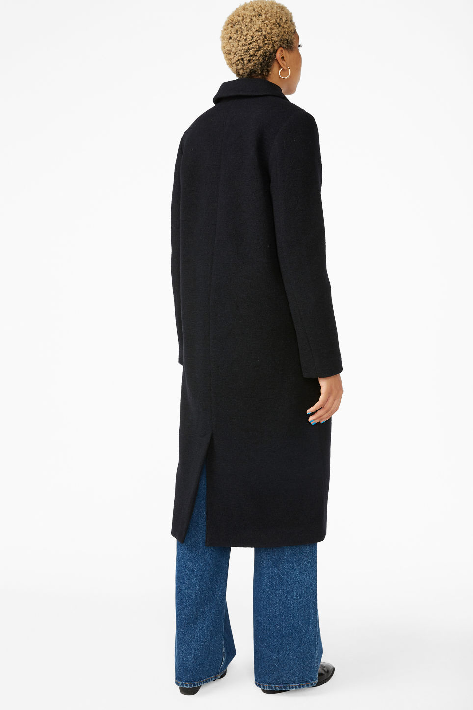 Model back image of Monki classic coat in black