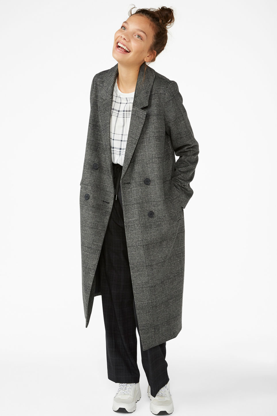 Model front image of Monki classic coat in grey