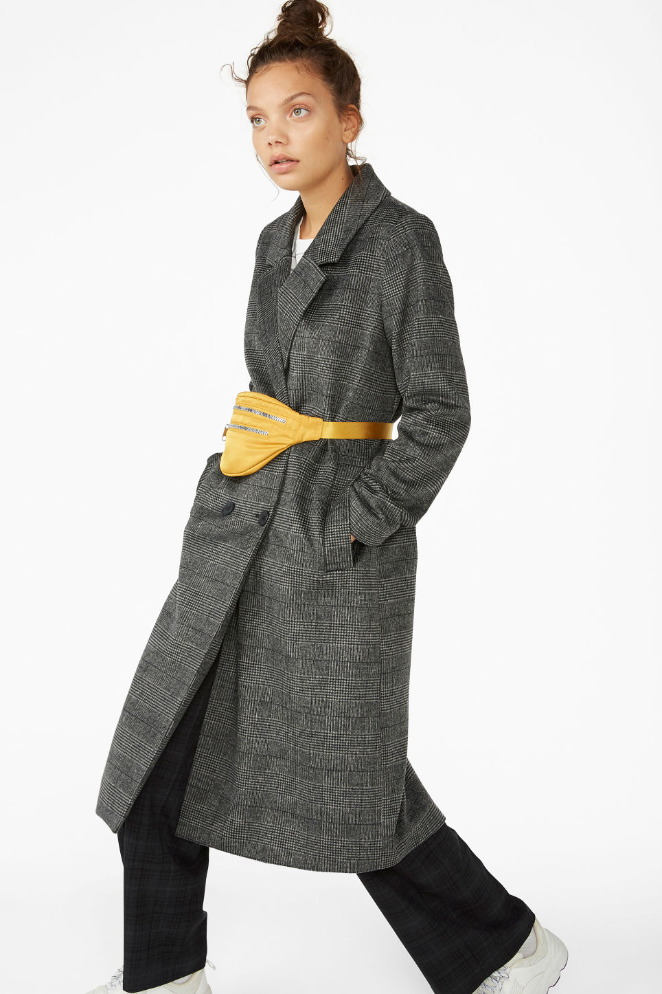 Model side image of Monki classic coat in grey