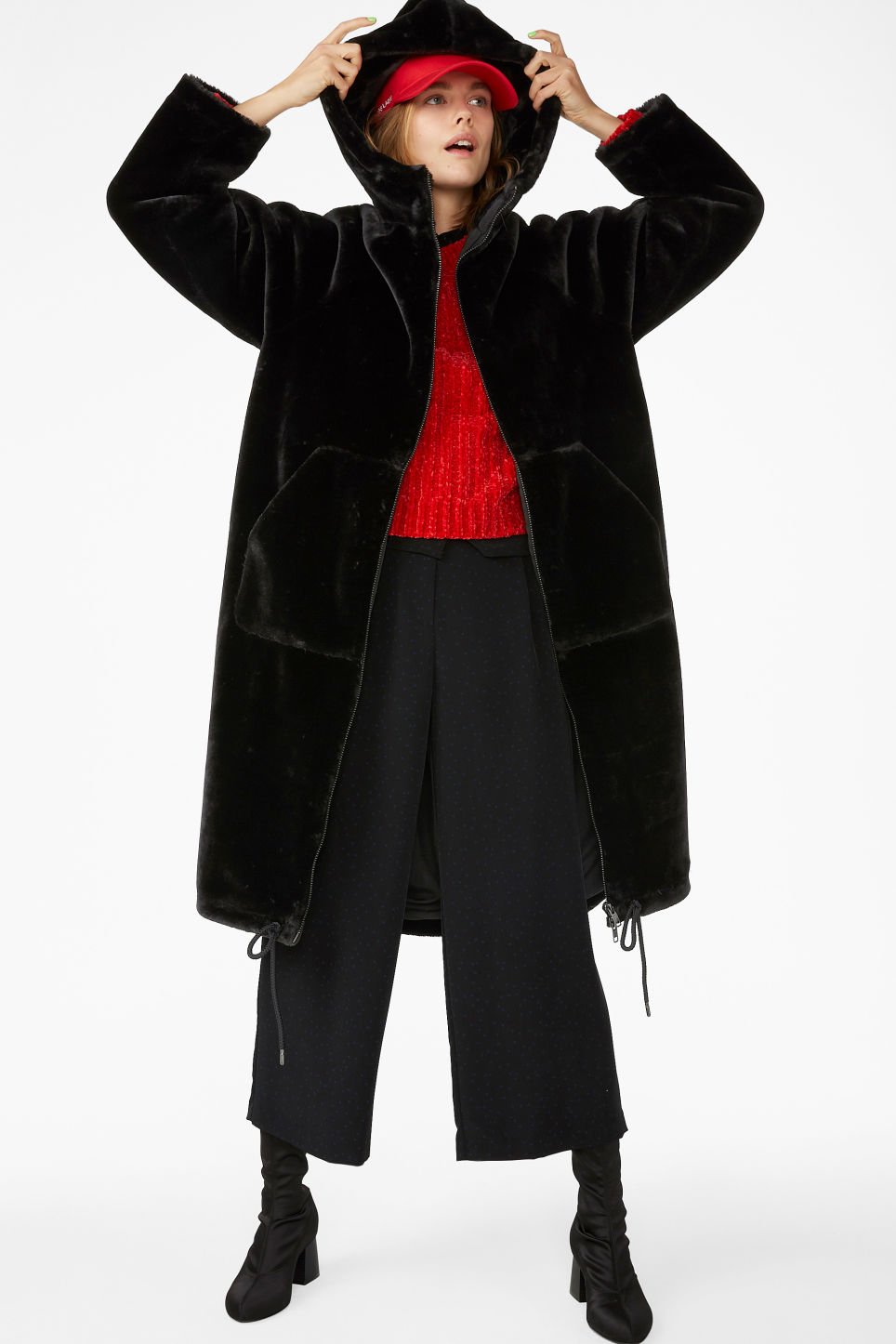Model front image of Monki long faux fur coat in black