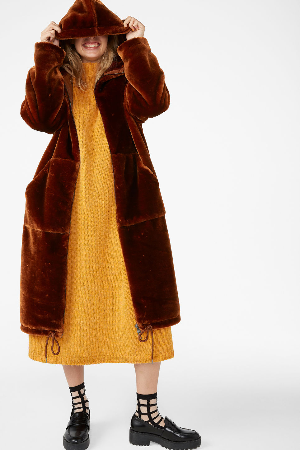 Model front image of Monki long faux fur coat in orange