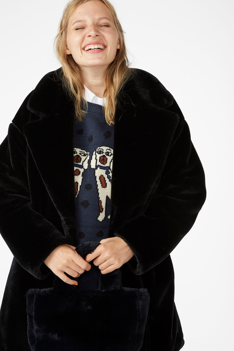 Model front image of Monki super-soft fluffy coat in black