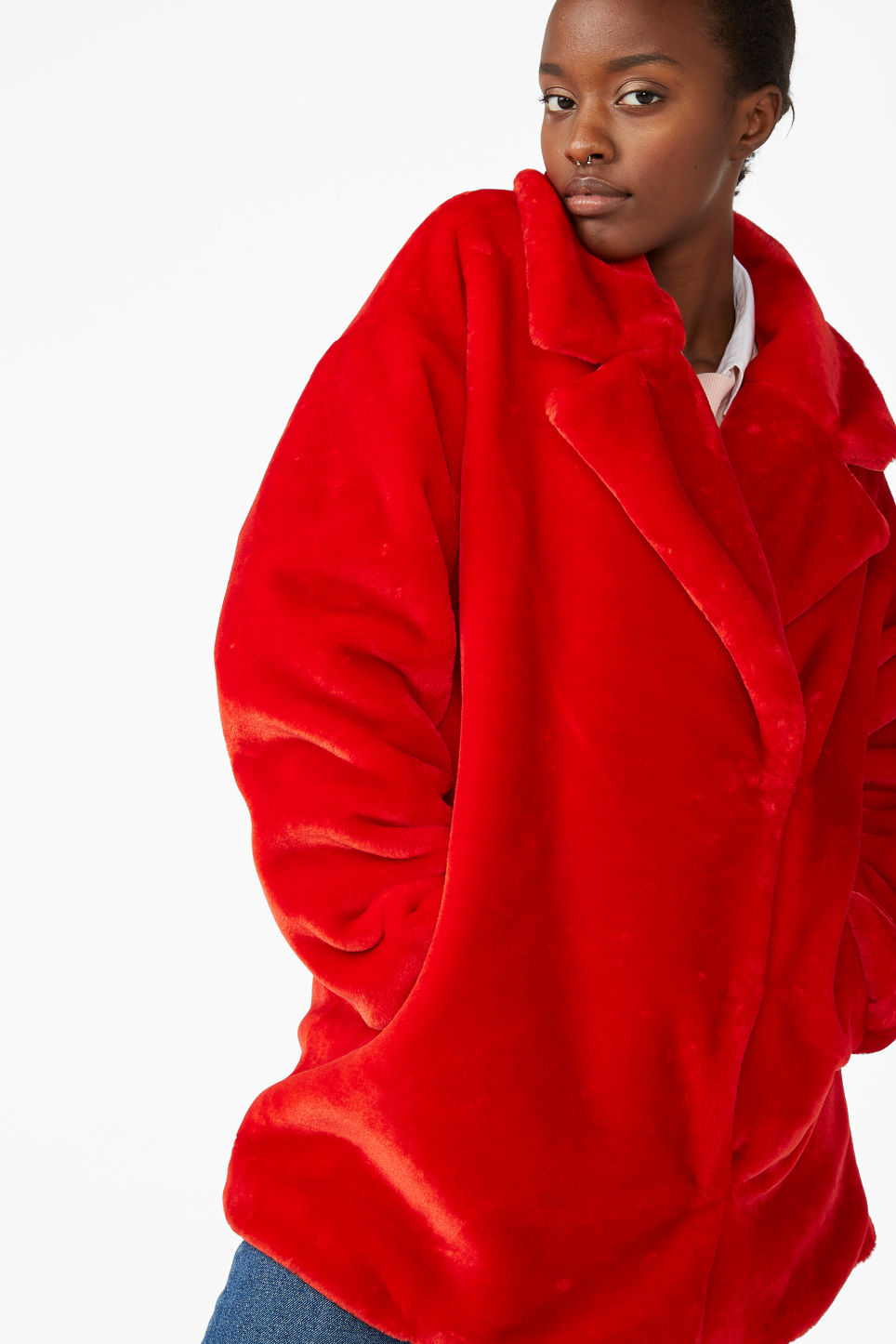 Model front image of Monki super-soft fluffy coat in red