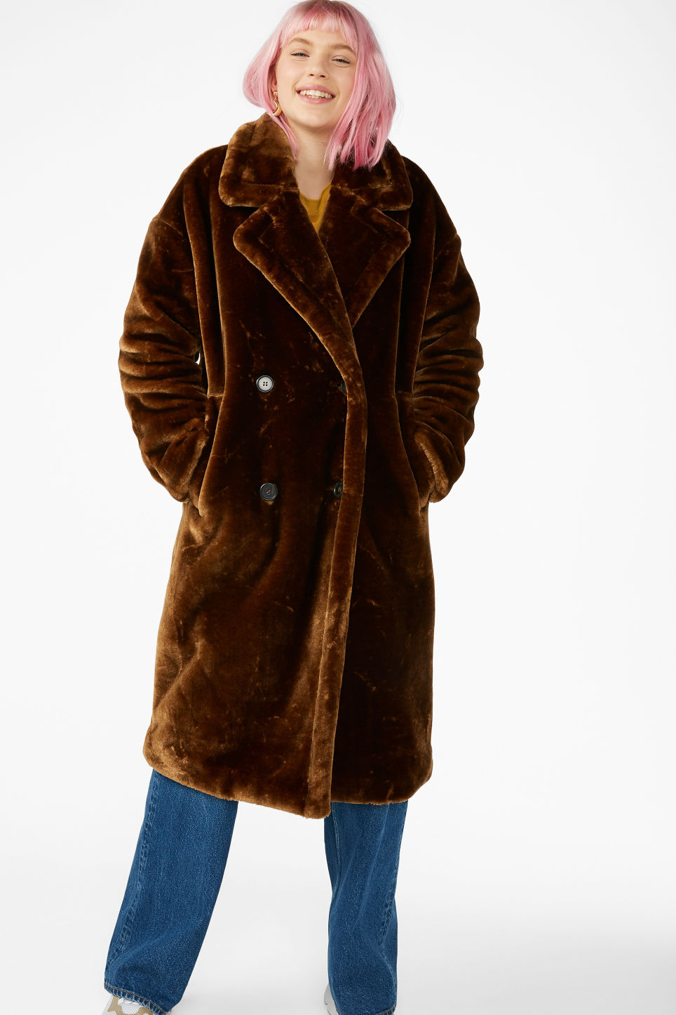 Model front image of Monki long faux fur coat in brown