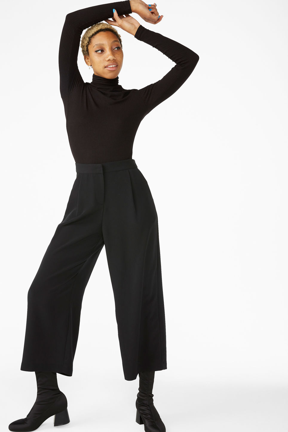 Model front image of Monki wide leg trousers in black