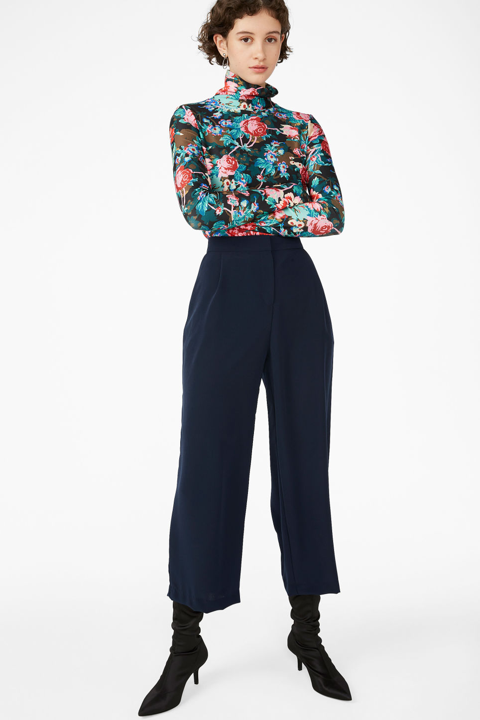 Model front image of Monki wide leg trousers in blue