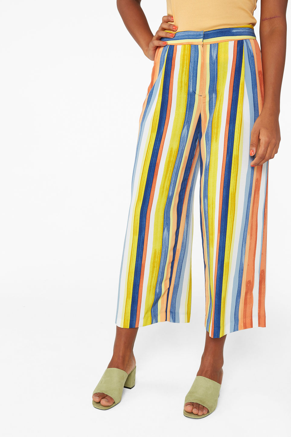 Model side image of Monki wide leg trousers in blue