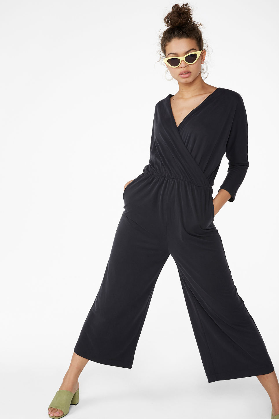 Model front image of Monki super-soft wrap jumpsuit in black