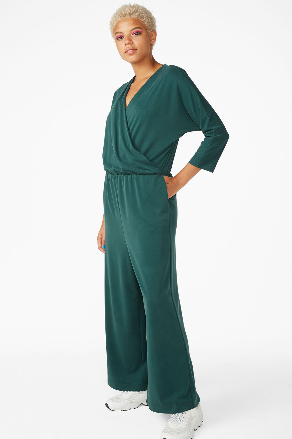 Model front image of Monki super-soft wrap jumpsuit in green