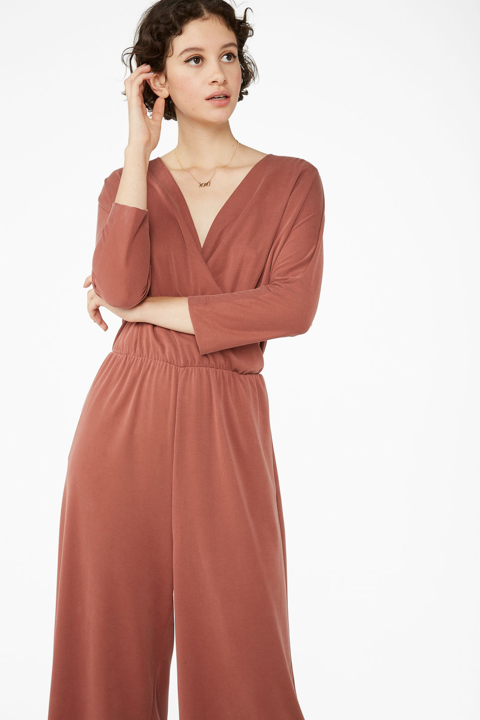 Model front image of Monki super-soft wrap jumpsuit in red