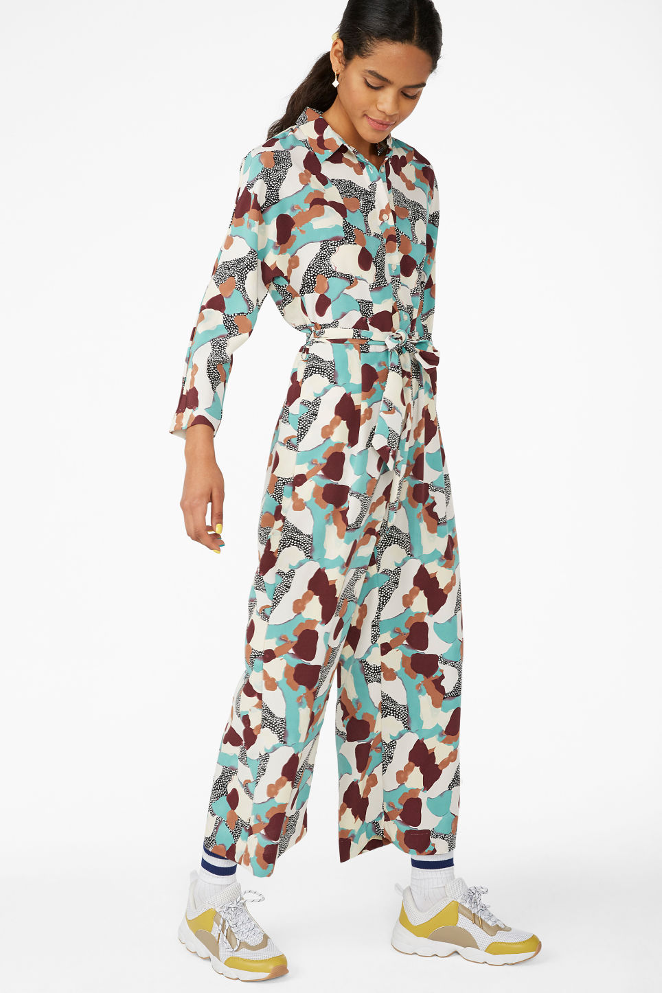 Model front image of Monki shirt collar jumpsuit in turquoise