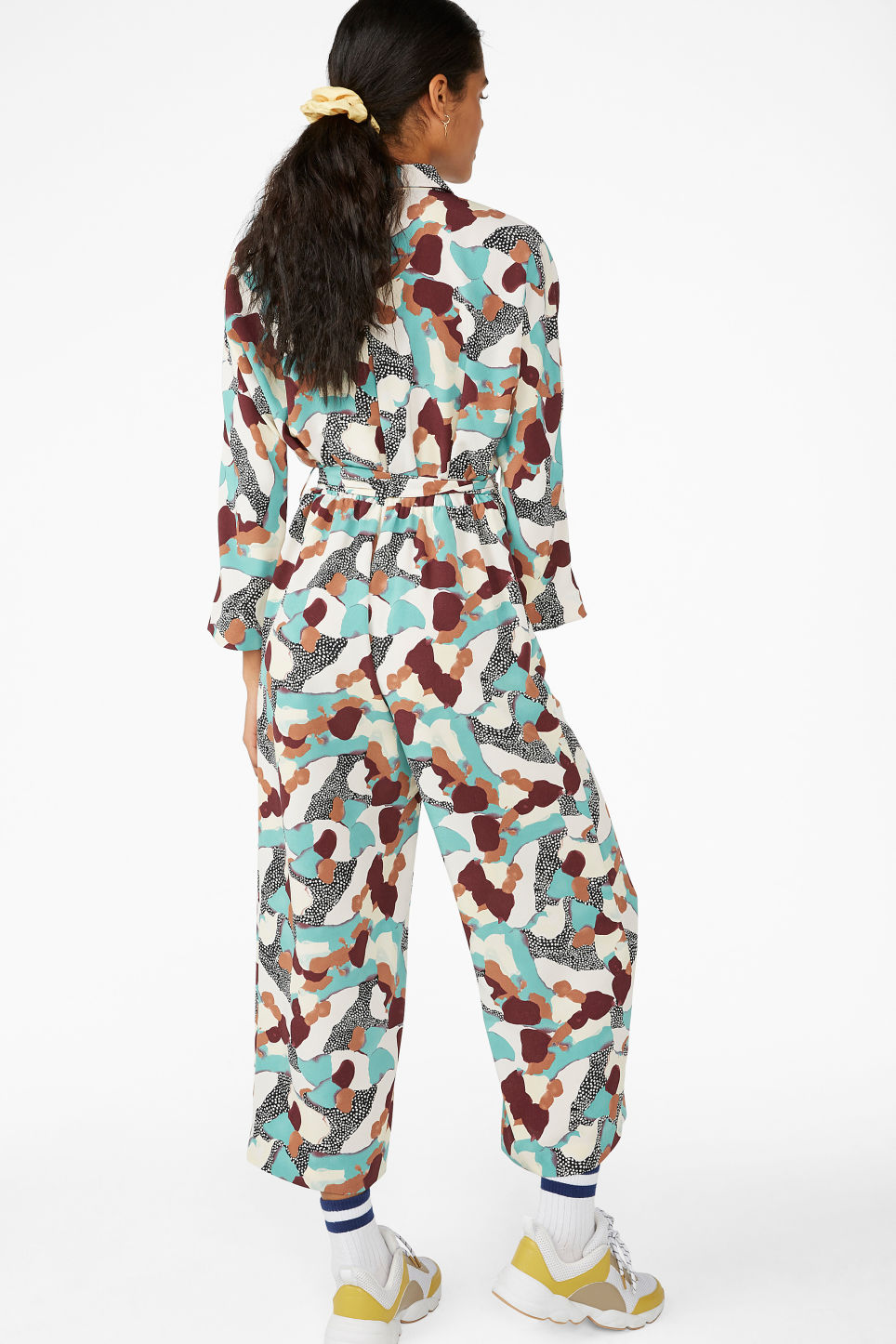 Model back image of Monki shirt collar jumpsuit in turquoise