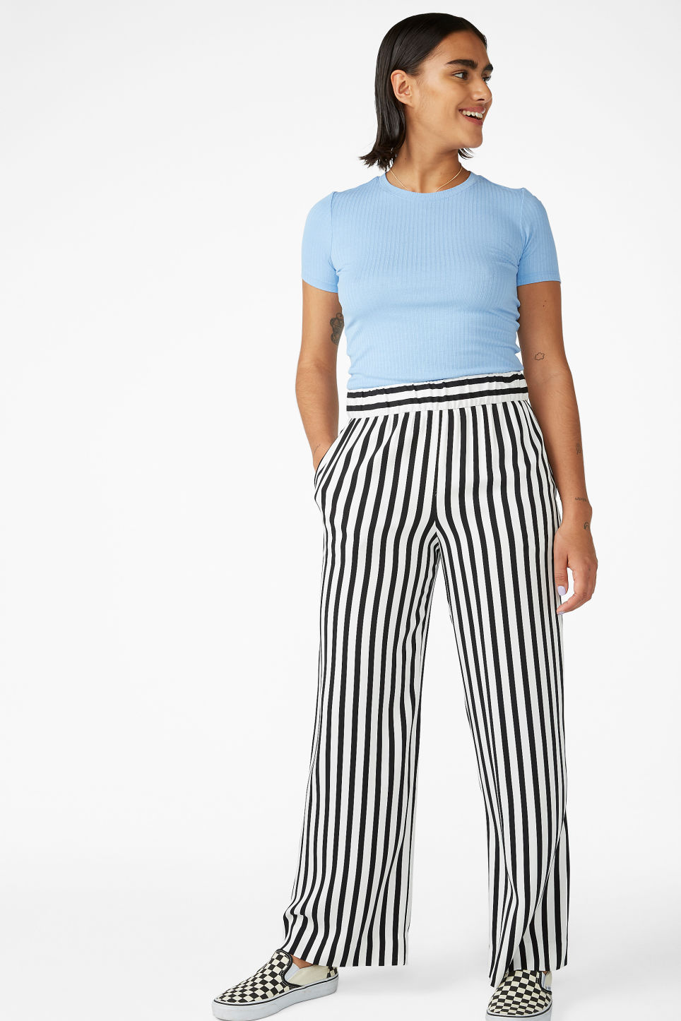 Model front image of Monki wide and straight trousers  in black